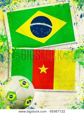 Brazil vs Cameroon soccer ball concept