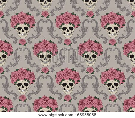 Skulls and roses damask pattern