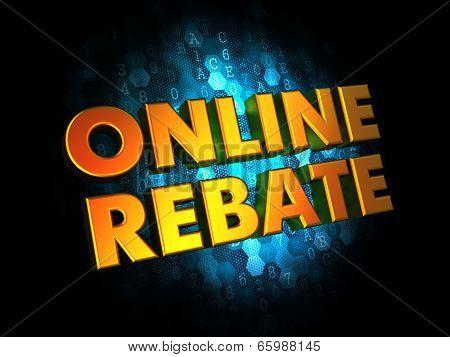 Online Rebate - Gold 3D Words.