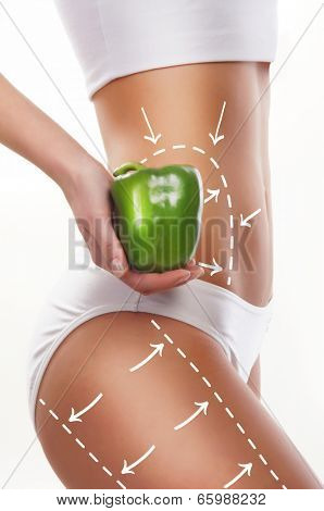 Female body with the drawing arrows on it isolated on white. Woman holding pepper. Fat lose, liposuction and cellulite removal concept.
