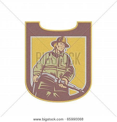 Metallic Fireman Firefighter Aiming Fire Hose Shield Retro