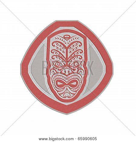 Metallic Maori Mask Face Front Shield Retro