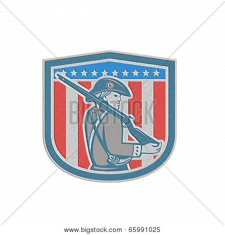 Metallic American Patriot Minuteman Holding Musket Rifle Shield Retro