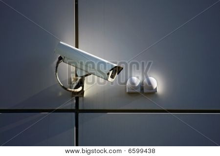 Cctv Security Camera On Wall