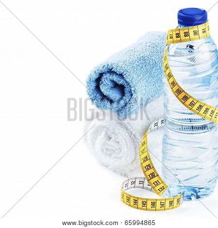 Fitness Concept With Water Bottle And Towels