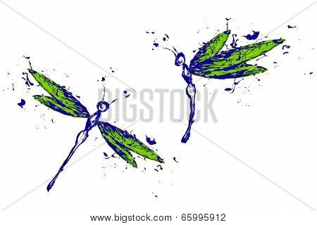 Blue Green Paint Made Dragonfly Set