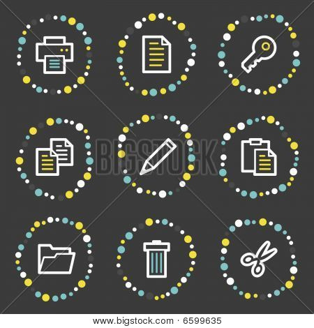 Document web icons set , colour dots series