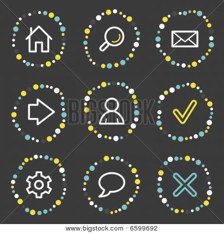 Basic web icons, colour dots series