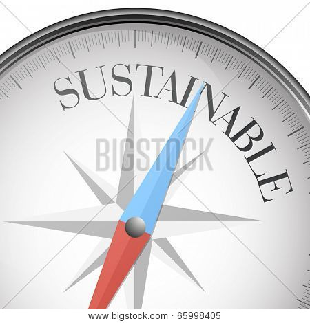 detailed illustration of a compass with sustainable text, eps10 vector