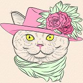 Vector Closeup Portrait Of The British Cat Hipster Lady poster