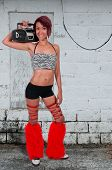 picture of rave  - Woman dressed to go to a rave dance party - JPG
