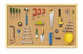 picture of pegboard  - Tools on a brown pegboard  - JPG