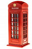 pic of phone-booth  - a typical english red phone booth isolated over a white background - JPG