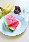 pic of watermelon slices  - Slices of juicy watermelon with other fruits  - JPG