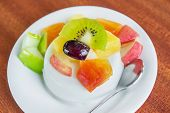 foto of papaya fruit  - The Fancy Fresh tofu with fruit salad - JPG