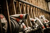 picture of firefighter  - Storage room in firefighting depot with water hoses  - JPG