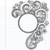 stock photo of girly  - Circle Picture Frame Border Back to School Sketchy Notebook Doodles - JPG