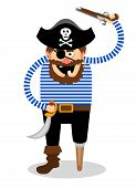 picture of raider  - Stereotypical vector pirate on a white background with a wooden peg leg  one eye and a skull and crossbones on his hat wielding a cutlass and pistol - JPG