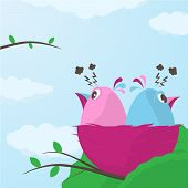 pic of angry bird  - Two cute little cartoon little birds in a nest having a fight sitting with their backs to each other in anger ignoring one another vector illustration - JPG