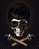 foto of skull cross bones  - Rock star skull with a macabre bony skull wearing trendy modern sunglasses and two crossed microphones in the foreground on a dark background with radiating brown rays - JPG