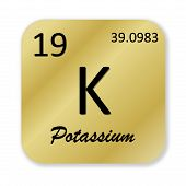 pic of potassium  - Black potassium element into golden square shape isolated in white background - JPG