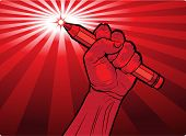 pic of clenched fist  - Clenched male fist holding a pencil with a fiery point and radiating red rays symbolic of the power of the word print and knowledge in attaining freedom and control vector illustration in red - JPG