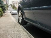 picture of banquette  - Novice driver parked the car on sidewalk - JPG