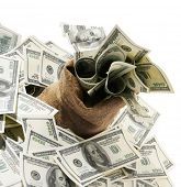foto of sack dollar  - Canvas money sack with one hundred dollar bills - JPG