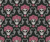 foto of scrollwork  - Skulls and roses damask pattern - JPG