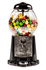 stock photo of gumball machine  - a bubble gum vending machine isolated over white background - JPG