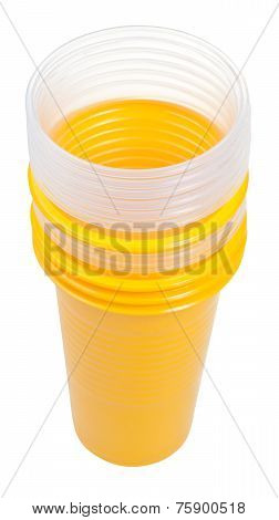 Stack Of Yellow And Transparent Plastic Glasses