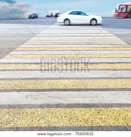 Zebra Of Pedestrian Crosswalk On Road