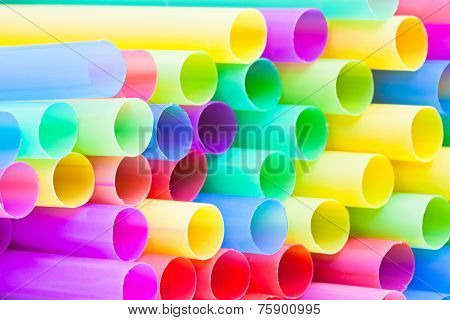 Many-colored Ends Of Multicoloured Drinking Straws