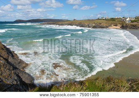 Waves on surfing beach Treyarnon Bay Cornwall England UK Cornish north coast