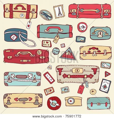Vintage suitcases set. Travel Vector illustration.