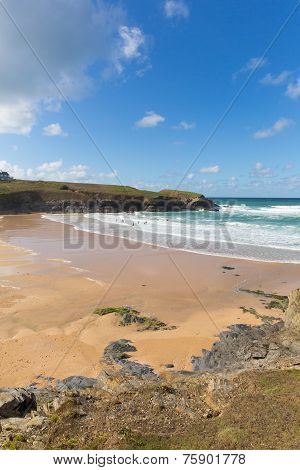 Beach and coast Treyarnon Bay Cornwall England UK Cornish north coast between Newquay and Padstow