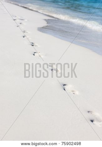 Footsteps on the sand of the Kuramathi beach