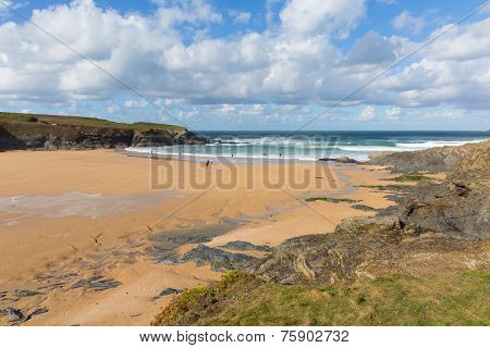 Beach at Treyarnon Bay Cornwall England UK Cornish north coast between Newquay and Padstow