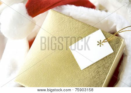 Golden Gift Box With Tag
