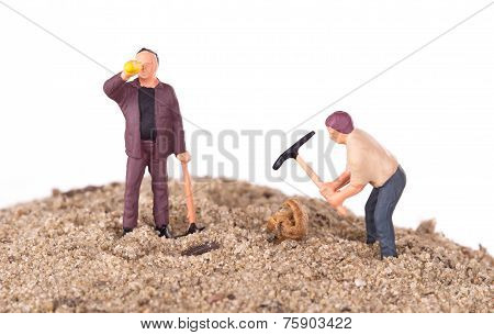 Miniature Workers With Pickaxes
