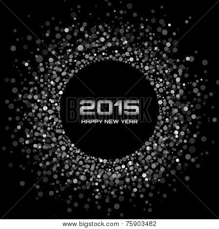 White - Black New Year 2015 Background, vector illustration