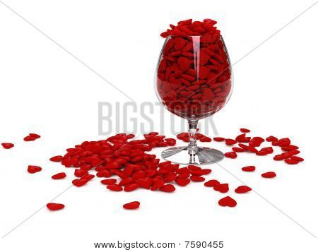 Hearts In Wineglass