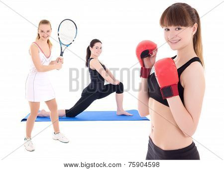 Sport Concept - Female Tennis Player, Female Boxer And Woman Doing Yoga Isolated On White