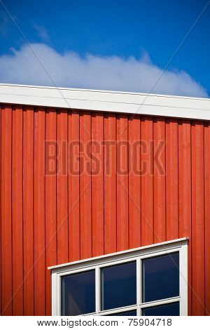 Geometrical Shot Of House Wall On Sky Background