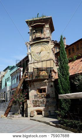 Falling Clock Tower Of Tbilisi's Puppet Theatre In Sololaki Old District,georgia