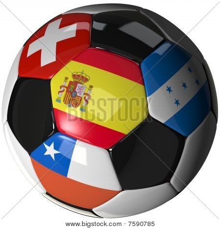 Soccer Ball Over White With 4 Flags - Group H 2010