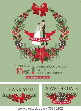 Winter wedding invitation.Retro Bride,groom,christmas wreath