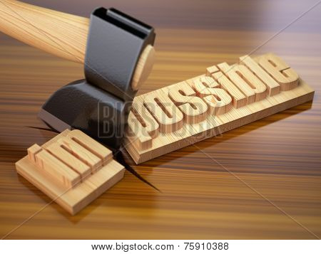 Changing of word impossible into possible on wooden plank with axe. 3d