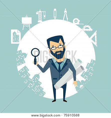 architect expert looking through a magnifying glass illustration