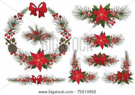 Merry Christmas and New Year Wreath,group